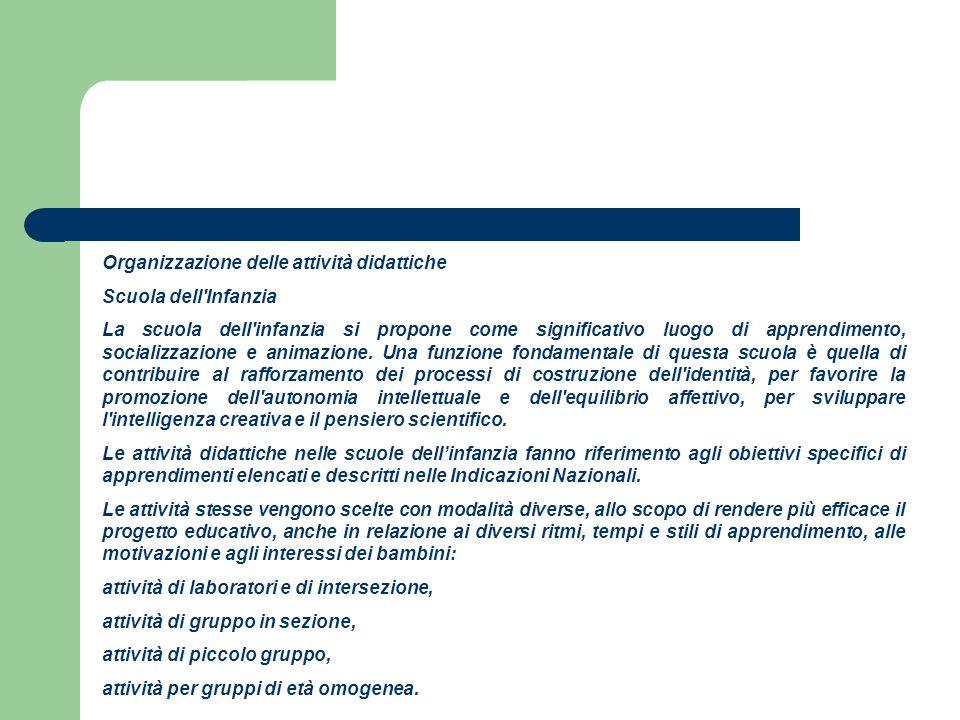 Organizzazione delle attività didattiche