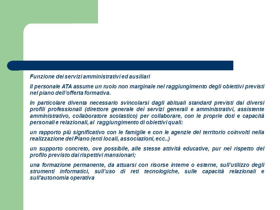 Funzione dei servizi amministrativi ed ausiliari