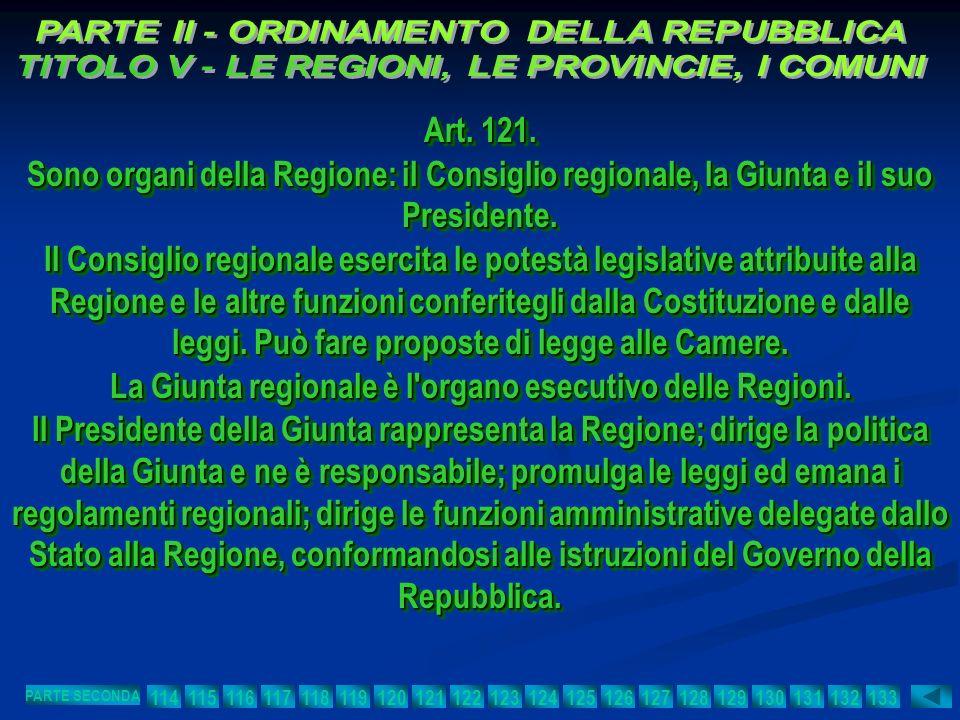 La Giunta regionale è l organo esecutivo delle Regioni.