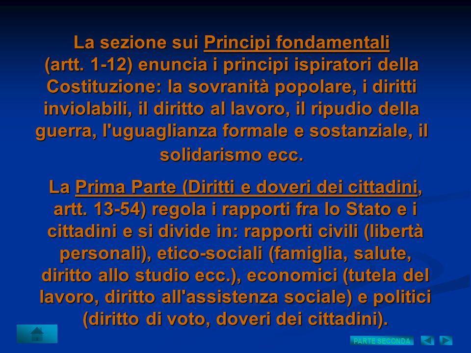 La sezione sui Principi fondamentali (artt