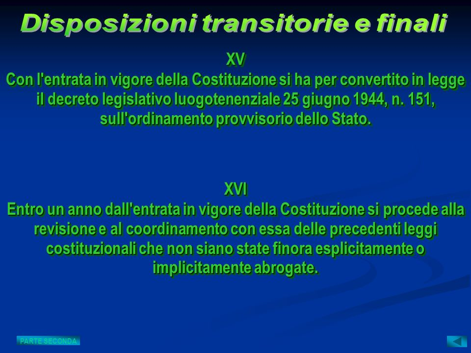 Disposizioni transitorie e finali