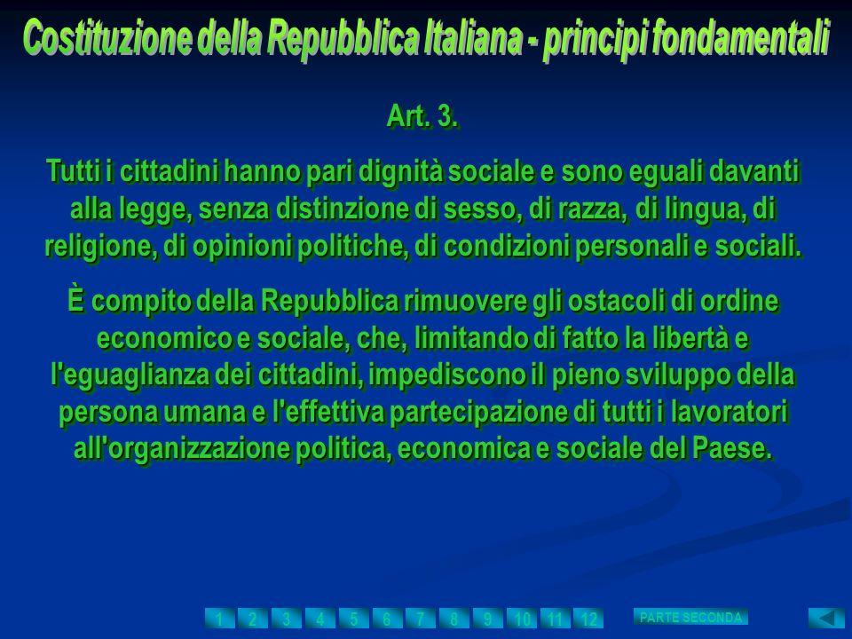 Costituzione della Repubblica Italiana - principi fondamentali