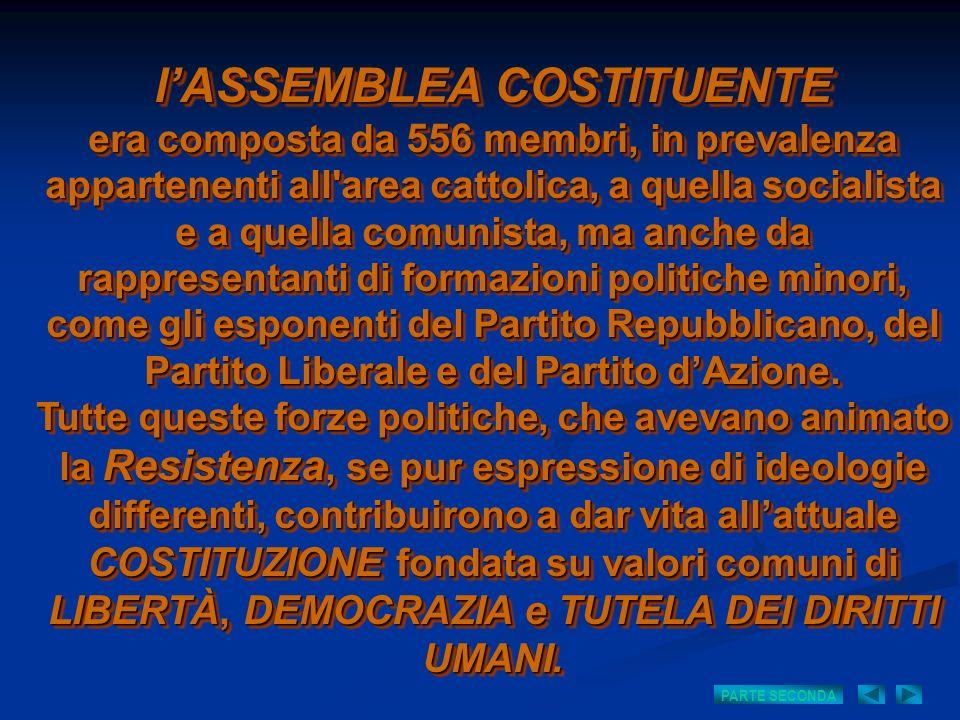l'ASSEMBLEA COSTITUENTE era composta da 556 membri, in prevalenza appartenenti all area cattolica, a quella socialista e a quella comunista, ma anche da rappresentanti di formazioni politiche minori, come gli esponenti del Partito Repubblicano, del Partito Liberale e del Partito d'Azione.