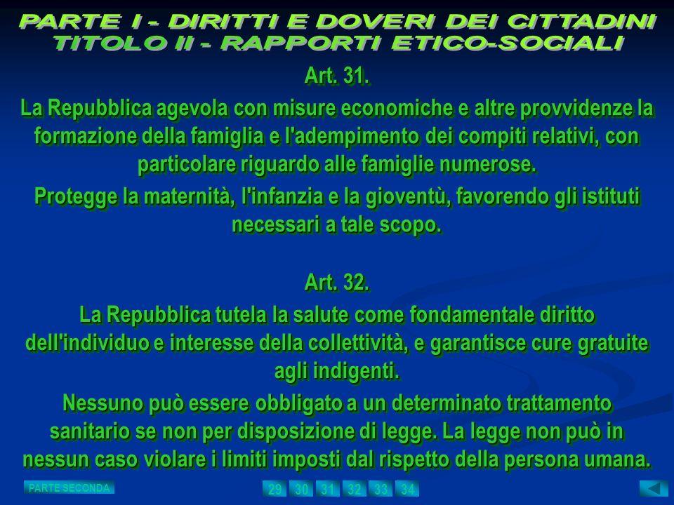 PARTE I - DIRITTI E DOVERI DEI CITTADINI