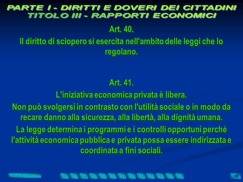 L iniziativa economica privata è libera.