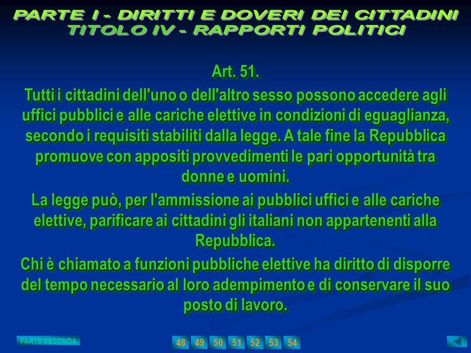 PARTE I - DIRITTI E DOVERI DEI CITTADINI TITOLO IV - RAPPORTI POLITICI