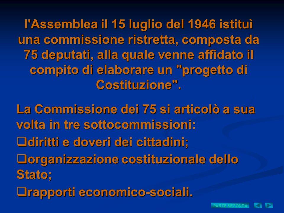 La Commissione dei 75 si articolò a sua volta in tre sottocommissioni:
