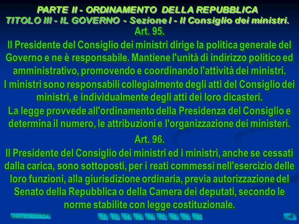 PARTE II - ORDINAMENTO DELLA REPUBBLICA