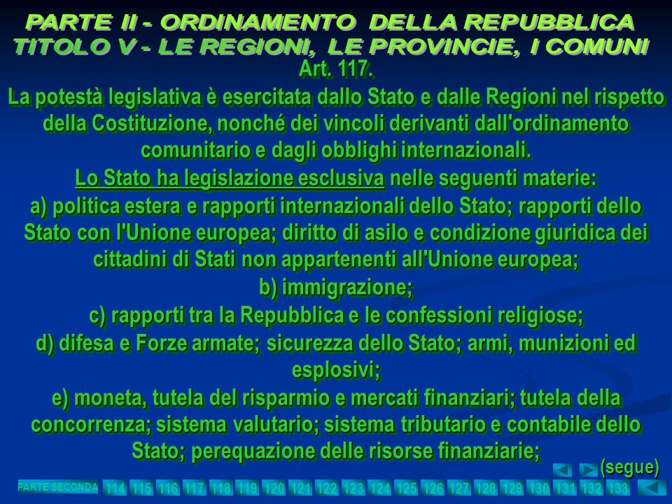 Lo Stato ha legislazione esclusiva nelle seguenti materie: