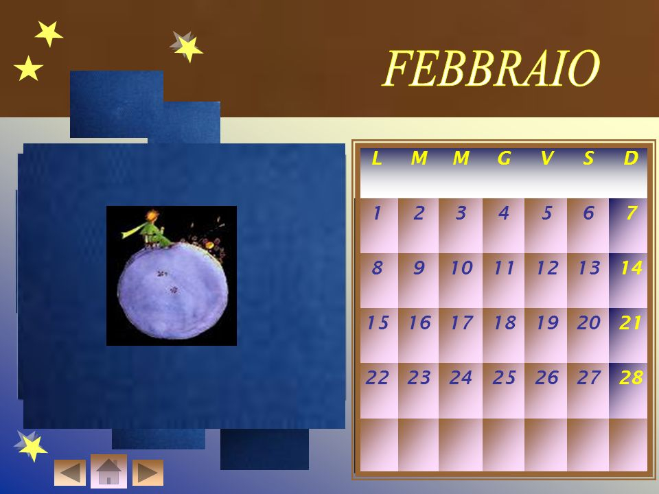 FEBBRAIO L. M. G. V. S. D. 1. 2. 3. 4. 5. 6. 7. 8. 9. 10. 11. 12. 13. 14. 15. 16.