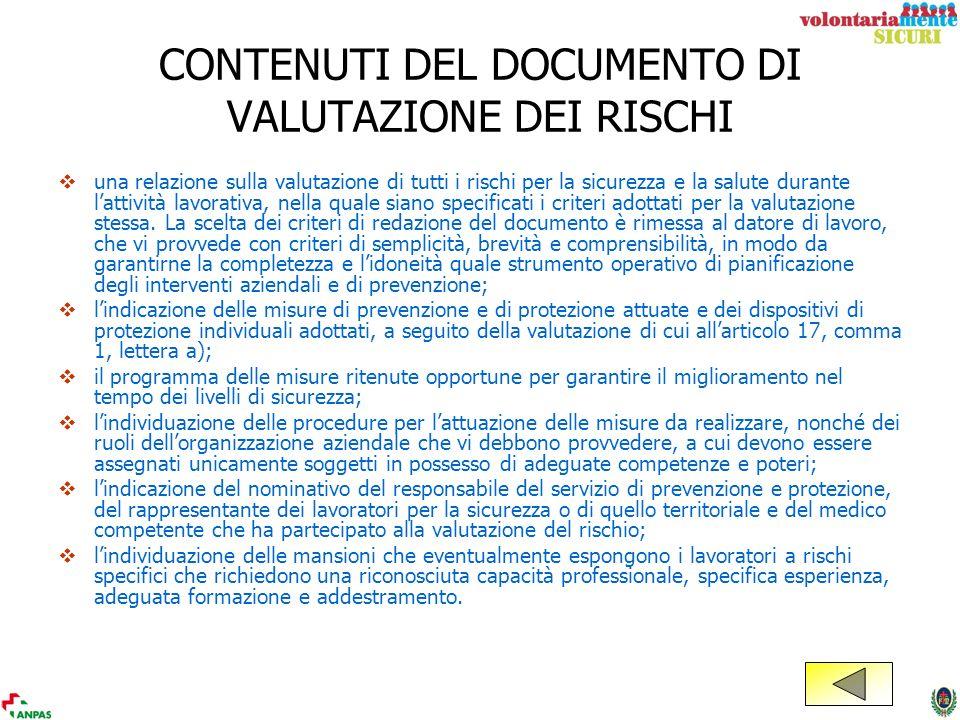 CONTENUTI DEL DOCUMENTO DI VALUTAZIONE DEI RISCHI
