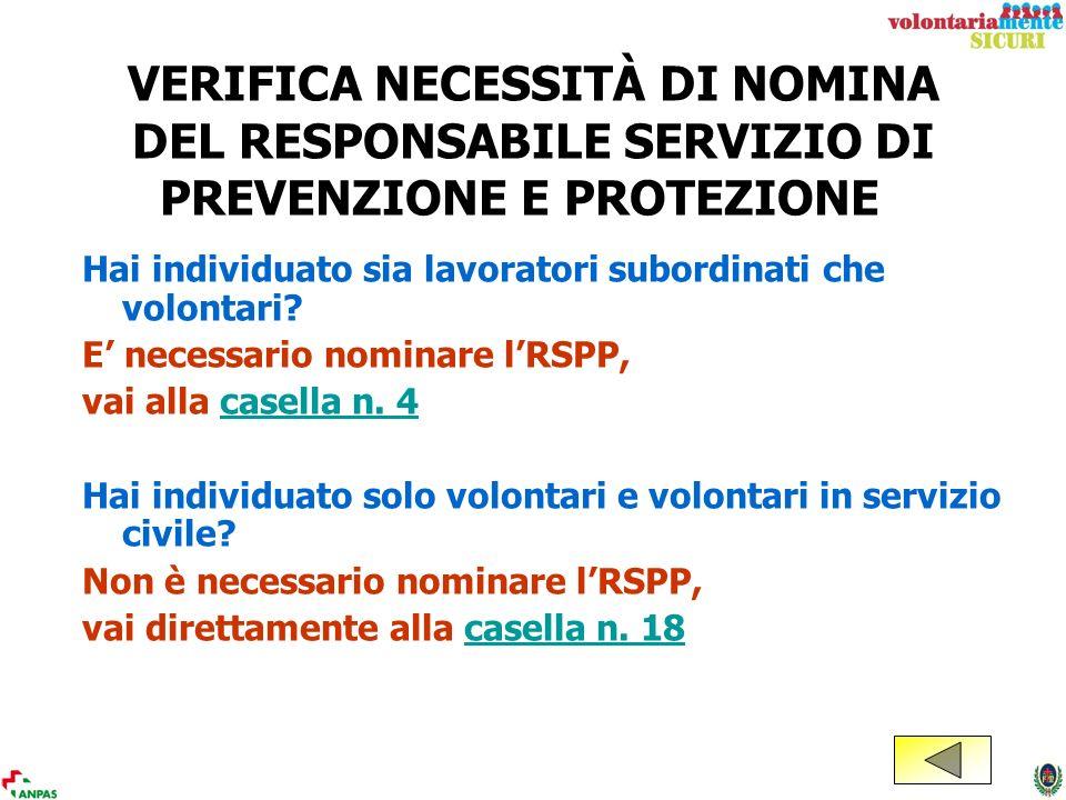 VERIFICA NECESSITÀ DI NOMINA DEL RESPONSABILE SERVIZIO DI PREVENZIONE E PROTEZIONE