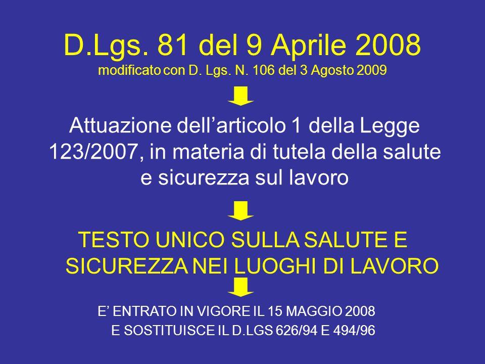 D. Lgs. 81 del 9 Aprile 2008 modificato con D. Lgs. N