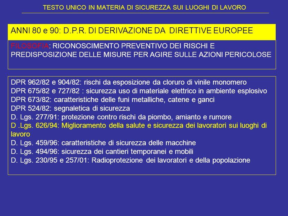 TESTO UNICO IN MATERIA DI SICUREZZA SUI LUOGHI DI LAVORO