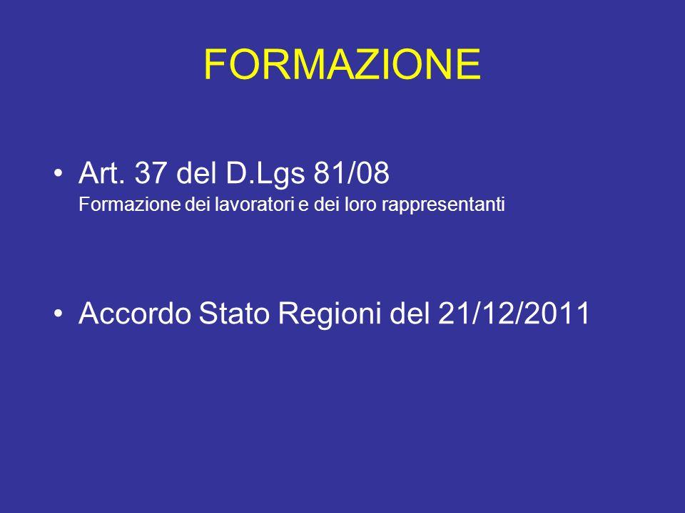 FORMAZIONE Art. 37 del D.Lgs 81/08