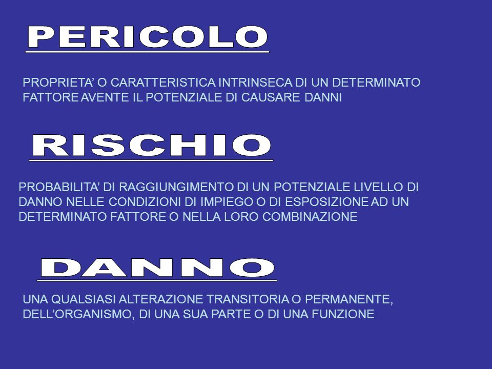 PERICOLO RISCHIO DANNO