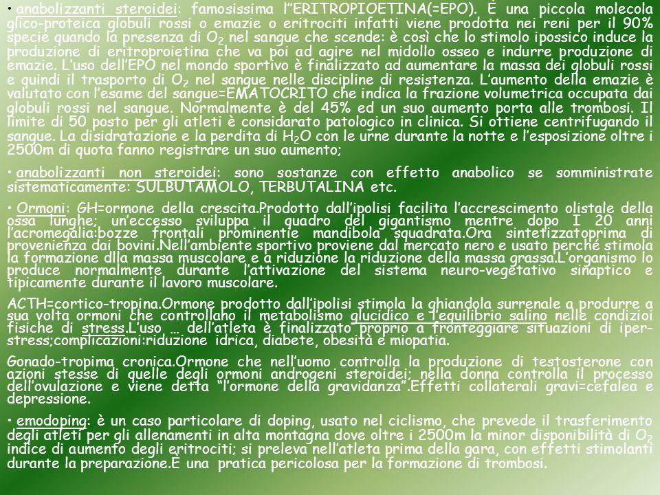 anabolizzanti steroidei: famosissima l''ERITROPIOETINA(=EPO)