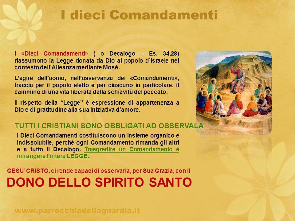 I dieci Comandamenti TUTTI I CRISTIANI SONO OBBLIGATI AD OSSERVALA