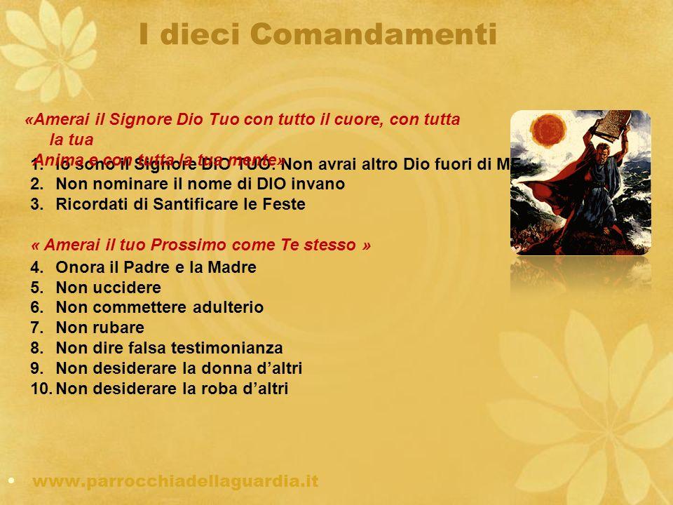 I dieci Comandamenti «Amerai il Signore Dio Tuo con tutto il cuore, con tutta la tua. Anima e con tutta la tua mente»