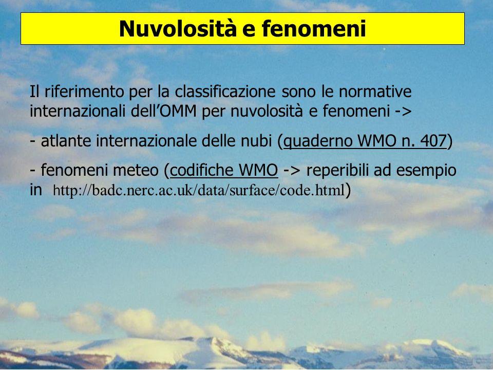Nuvolosità e fenomeni Il riferimento per la classificazione sono le normative internazionali dell'OMM per nuvolosità e fenomeni ->