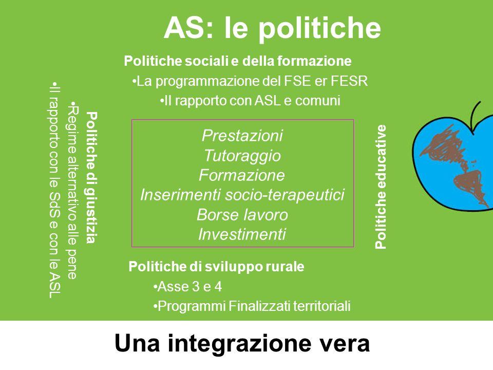 Politiche sociali e della formazione Politiche di giustizia