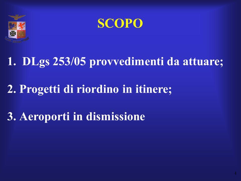 SCOPO DLgs 253/05 provvedimenti da attuare;