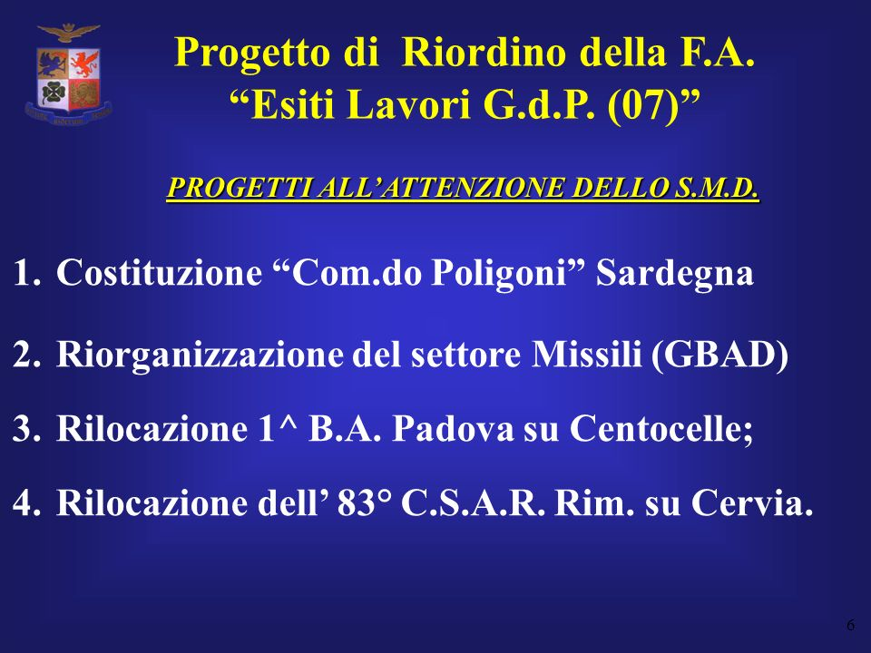 Progetto di Riordino della F.A. PROGETTI ALL'ATTENZIONE DELLO S.M.D.
