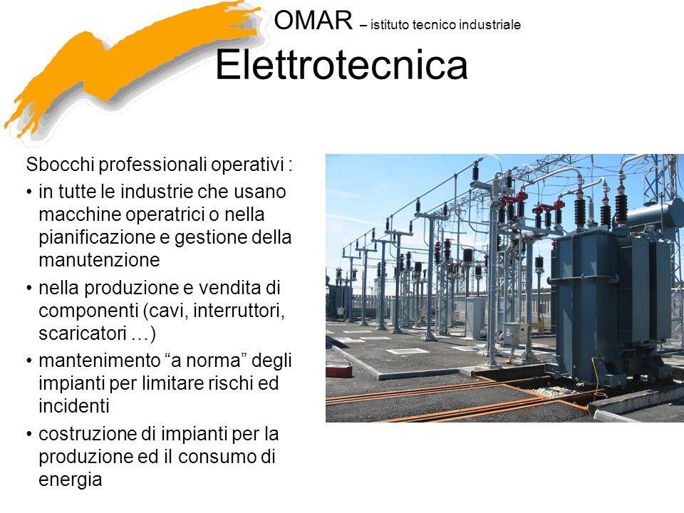 Elettrotecnica Sbocchi professionali operativi :
