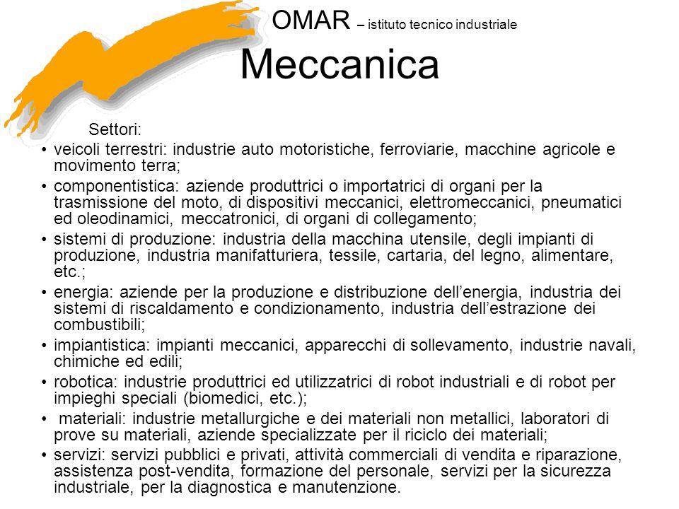 Meccanica Settori: veicoli terrestri: industrie auto motoristiche, ferroviarie, macchine agricole e movimento terra;