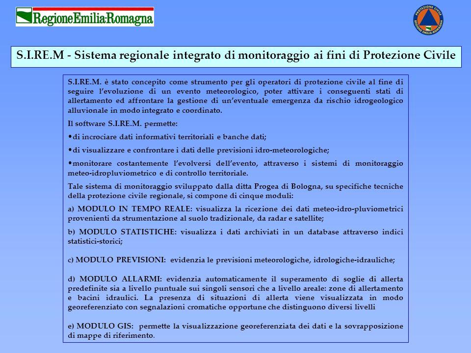 S.I.RE.M - Sistema regionale integrato di monitoraggio ai fini di Protezione Civile