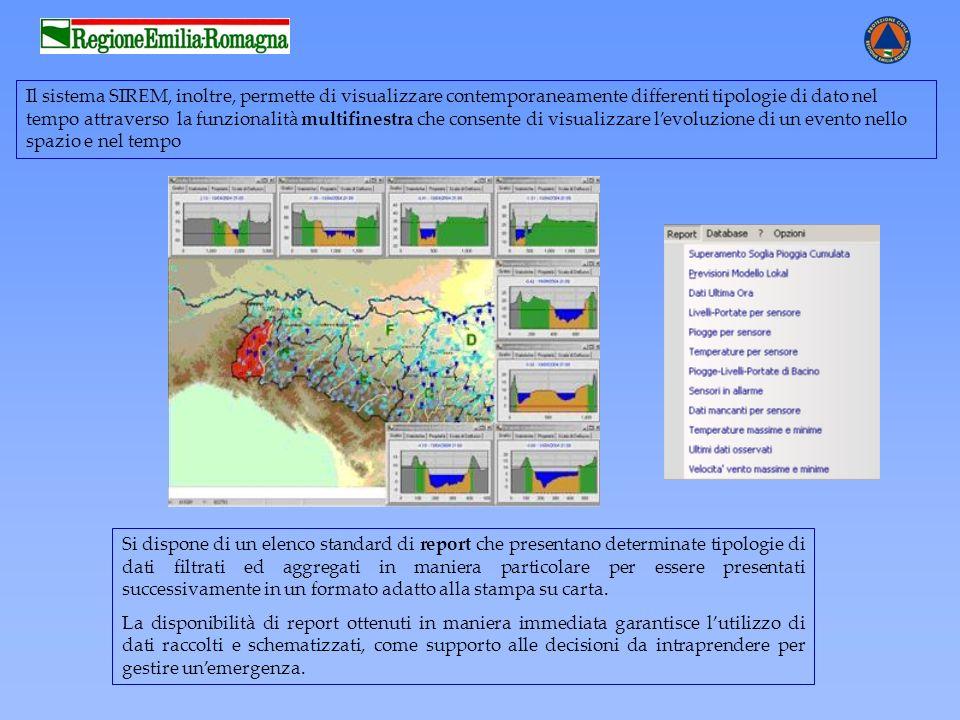 Il sistema SIREM, inoltre, permette di visualizzare contemporaneamente differenti tipologie di dato nel tempo attraverso la funzionalità multifinestra che consente di visualizzare l'evoluzione di un evento nello spazio e nel tempo
