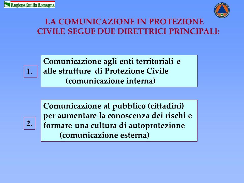LA COMUNICAZIONE IN PROTEZIONE CIVILE SEGUE DUE DIRETTRICI PRINCIPALI: