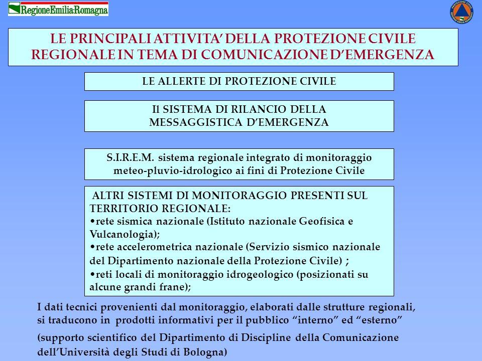 LE PRINCIPALI ATTIVITA' DELLA PROTEZIONE CIVILE REGIONALE IN TEMA DI COMUNICAZIONE D'EMERGENZA