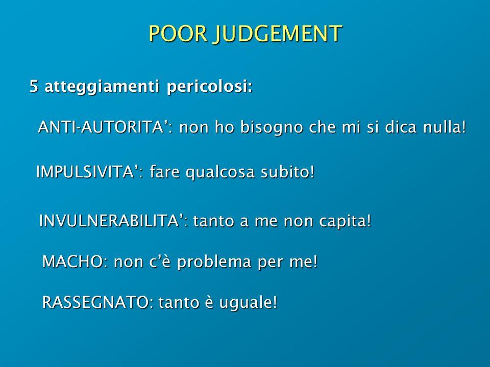 POOR JUDGEMENT 5 atteggiamenti pericolosi: