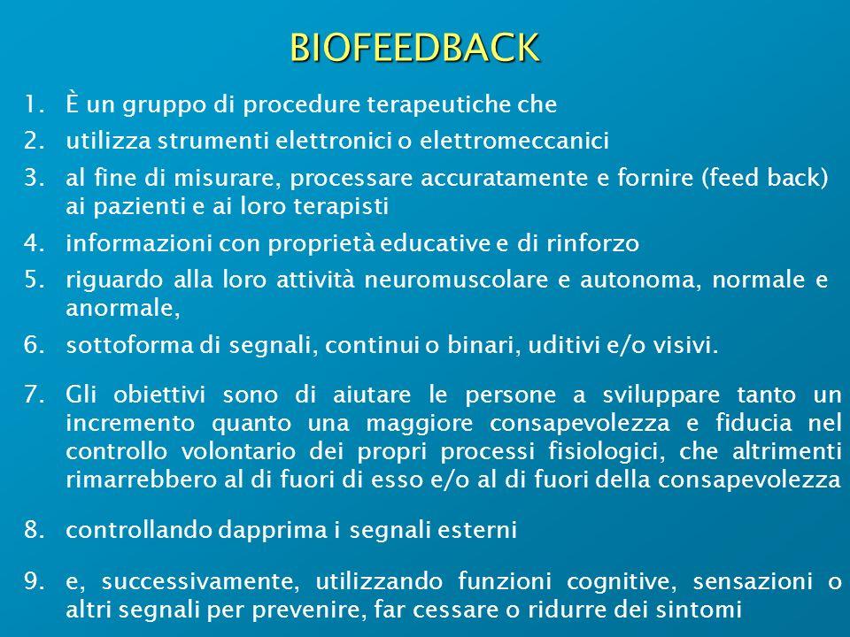 BIOFEEDBACK È un gruppo di procedure terapeutiche che