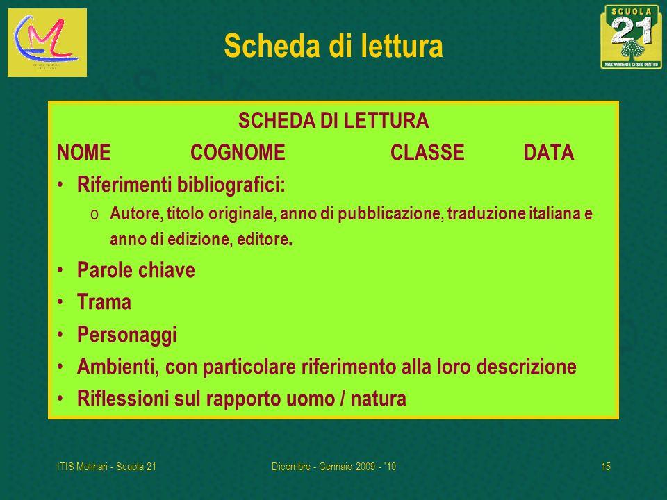 Scheda di lettura SCHEDA DI LETTURA NOME COGNOME CLASSE DATA