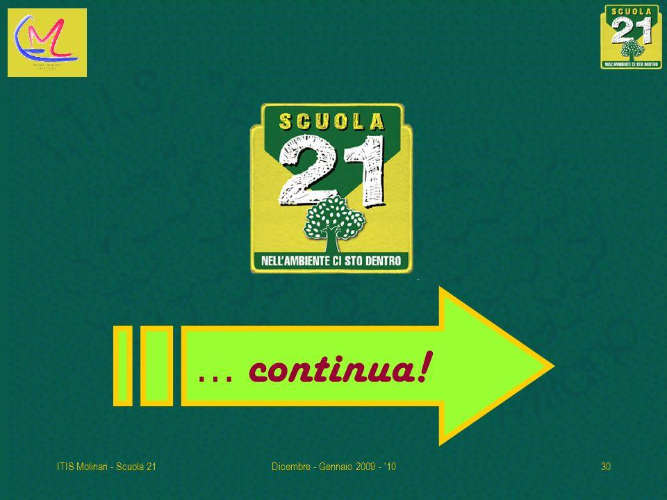 … continua! ITIS Molinari - Scuola 21 Dicembre - Gennaio 2009 - 10