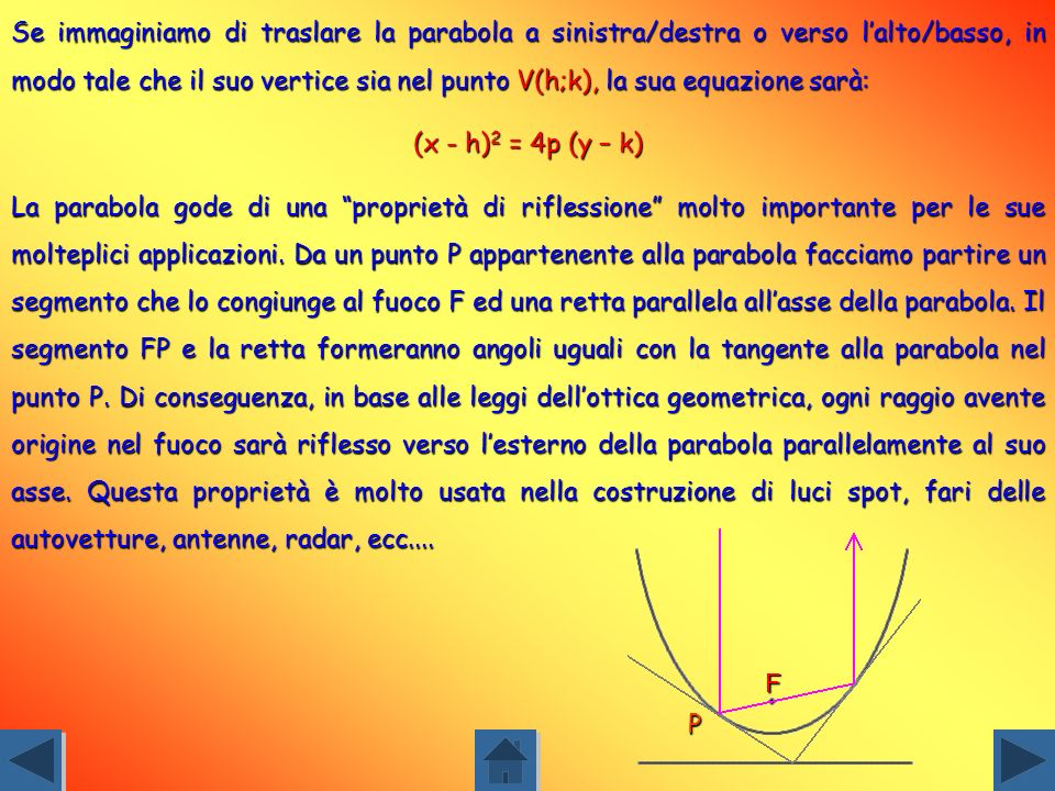 Se immaginiamo di traslare la parabola a sinistra/destra o verso l'alto/basso, in modo tale che il suo vertice sia nel punto V(h;k), la sua equazione sarà: