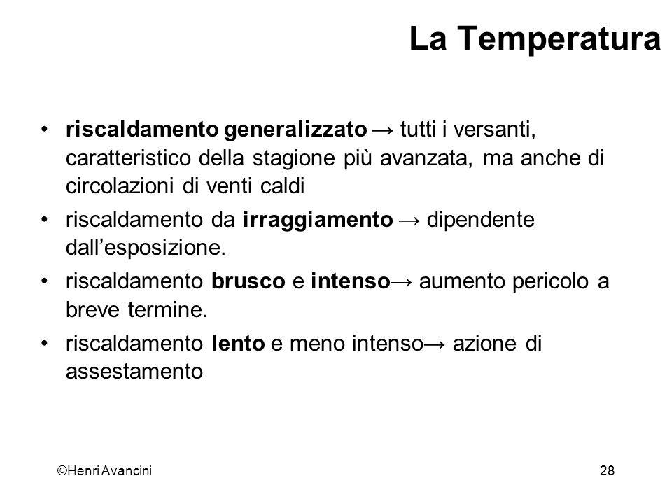 La Temperatura riscaldamento generalizzato → tutti i versanti, caratteristico della stagione più avanzata, ma anche di circolazioni di venti caldi.