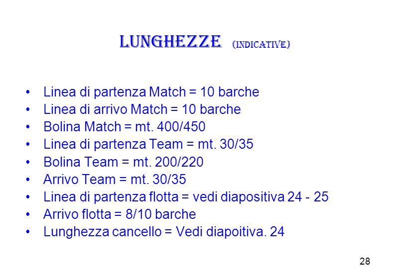 Lunghezze (indicative)