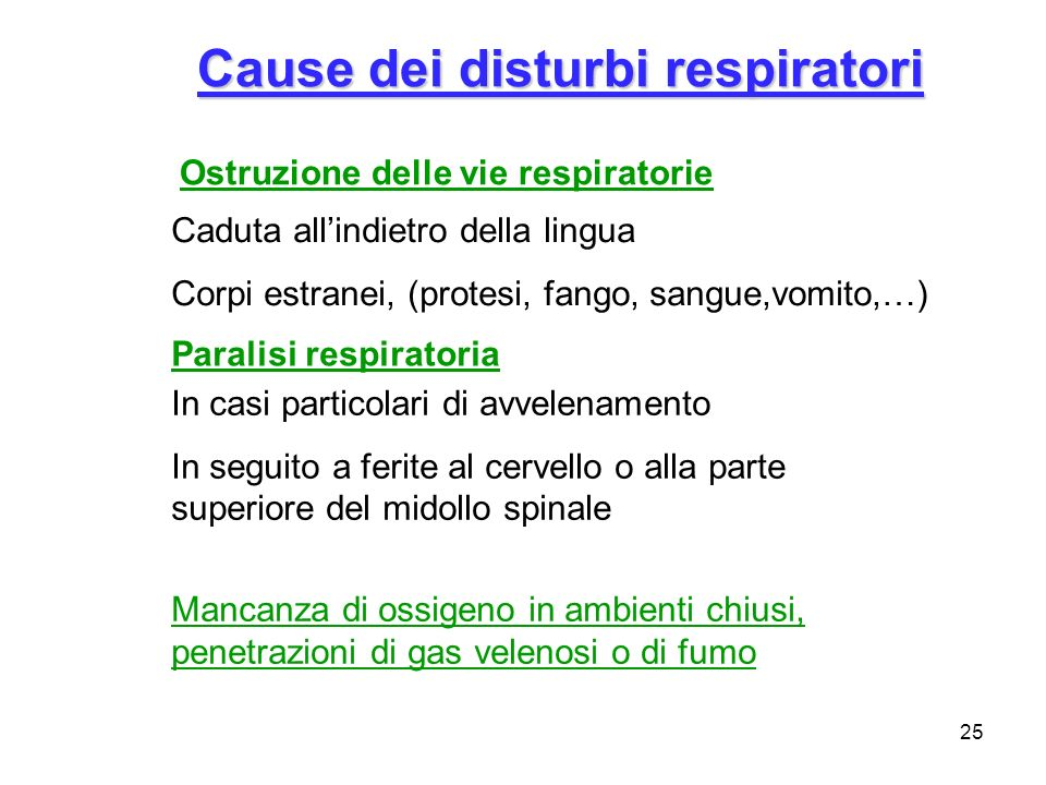 Cause dei disturbi respiratori
