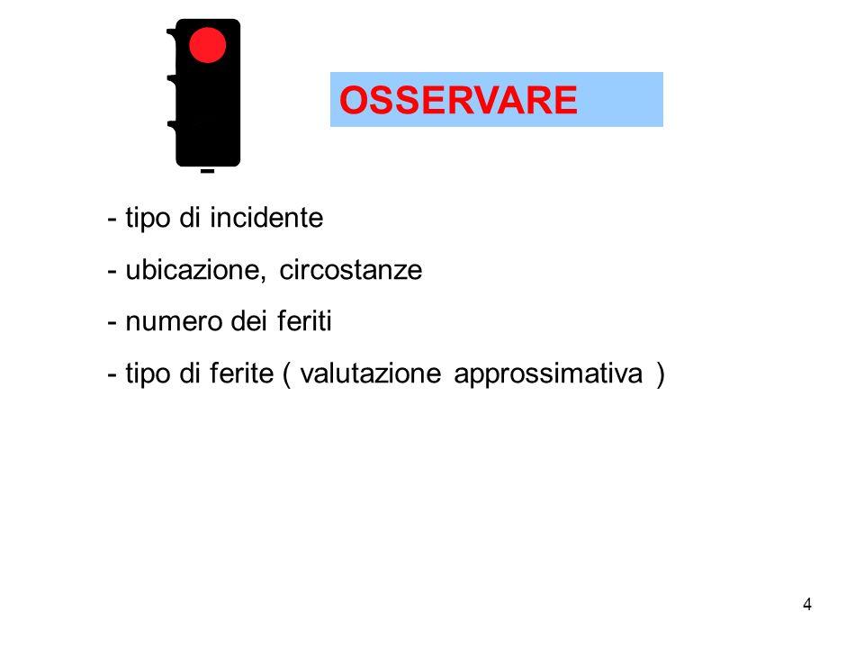 OSSERVARE tipo di incidente ubicazione, circostanze numero dei feriti
