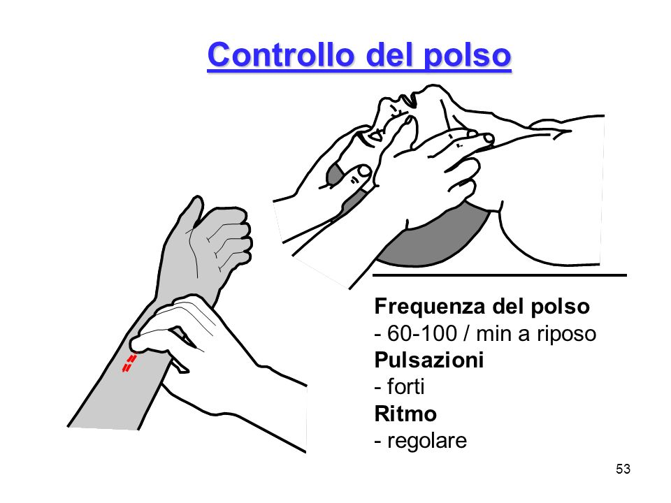 Controllo del polso Frequenza del polso - 60-100 / min a riposo