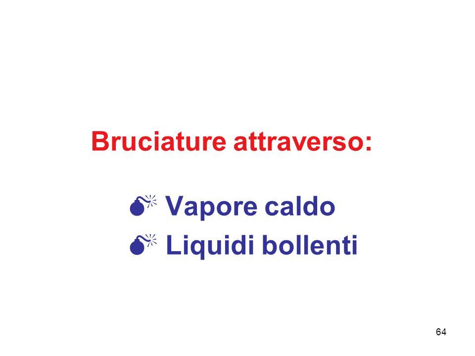 Bruciature attraverso:  Vapore caldo  Liquidi bollenti