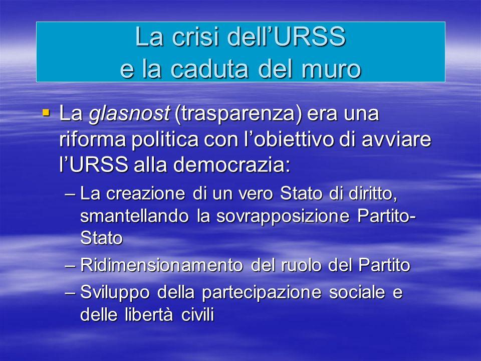 La crisi dell'URSS e la caduta del muro