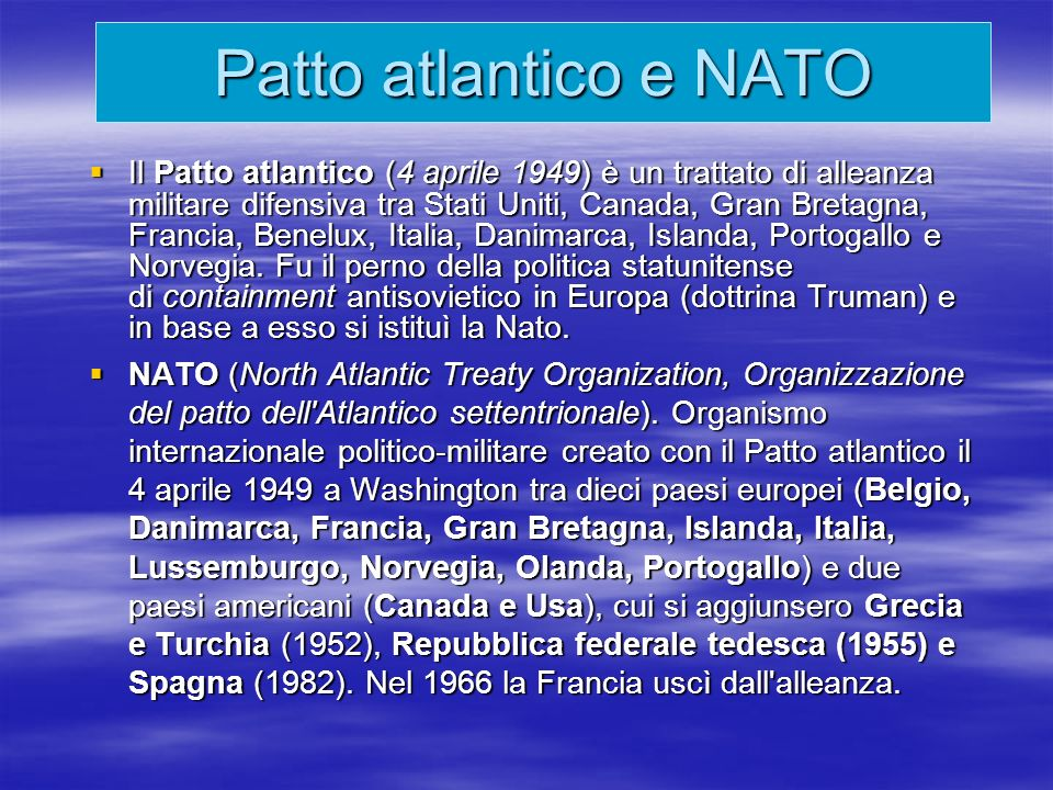 Patto atlantico e NATO