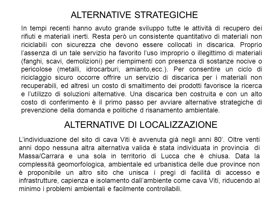 ALTERNATIVE STRATEGICHE
