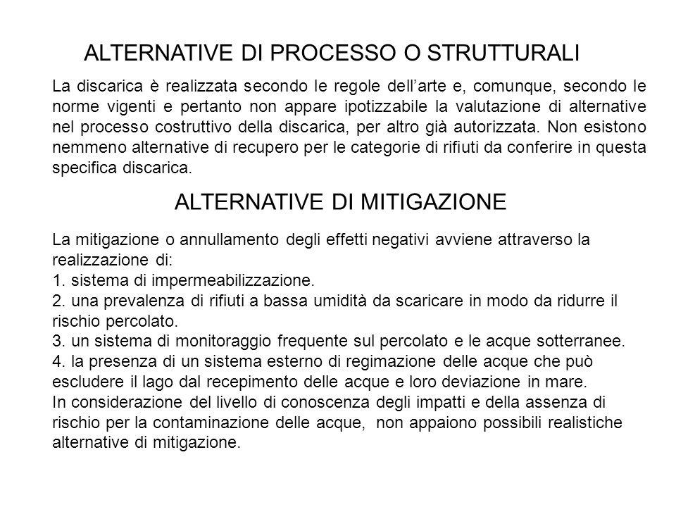 ALTERNATIVE DI PROCESSO O STRUTTURALI