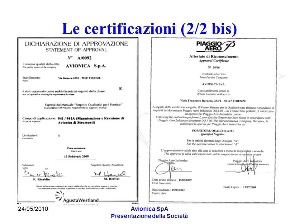 Le certificazioni (2/2 bis)