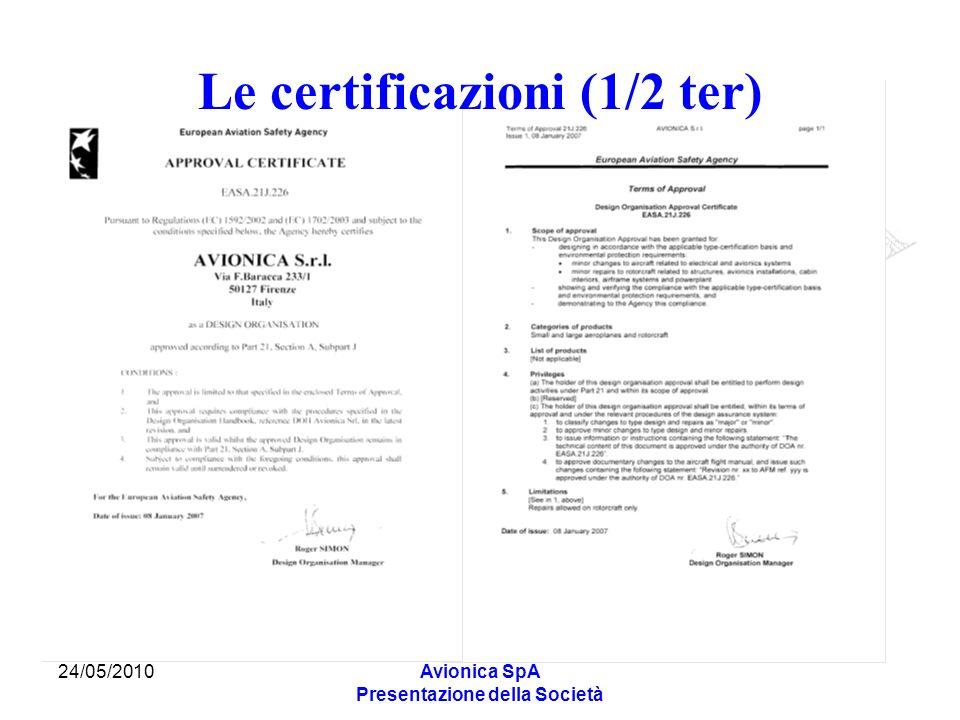 Le certificazioni (1/2 ter)